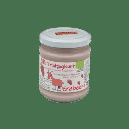 Ziegen-Trinkjoghurt, jokurt, jogurt, yoghurt, gerührt, biojoghurt, ziegenjogurt, erbeer, Beere